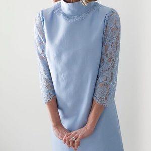 Devon Baer lace silk blue dress medium NWT